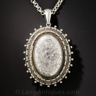Large Victorian Silver Locket and Chain
