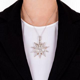 Large Victorian Star Brooch Pendant with 2.13 Carat Cushion-Cut Diamond Center