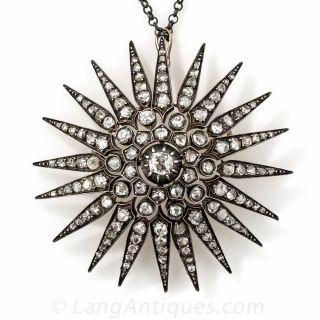 Large Victorian Diamond Starburst Brooch