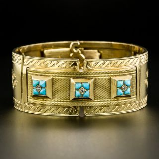 Late 19th Century French Turquoise Articulated Bangle  Bracelet - 2