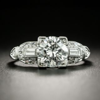 Late Art Deco 1.25 Carat Diamond Engagement Ring - GIA F SI1 - 2