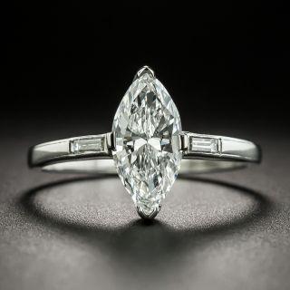 Mid-Century 1.27 Carat Marquise Diamond Engagement Ring