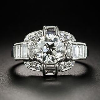 Late-Art Deco 1.55 Carat Diamond Palladium Engagement Ring - GIA I VS1 - 5