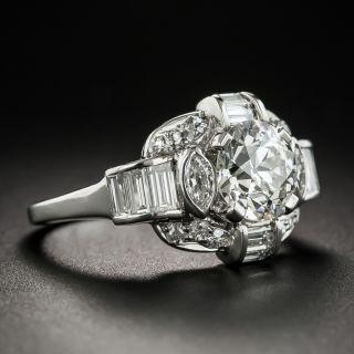 Late-Art Deco 1.55 Carat Diamond Palladium Engagement Ring - GIA I VS1