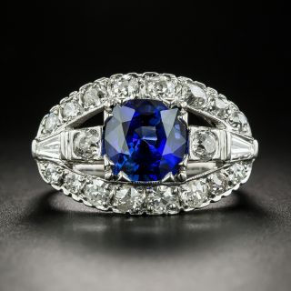 Late Art Deco 2.56 Carat Sapphire and Diamond Engagement Ring - 1