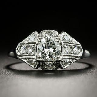 Late Art Deco .51 Carat Diamond Engagement Ring - GIA F VS1 - 2