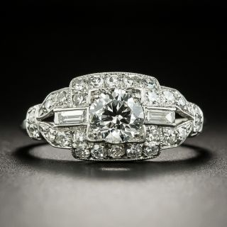 Late Art Deco .57 Carat Diamond Engagement Ring - 2