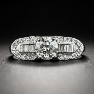 Late-Art Deco .63 Carat Diamond Platinum Engagement Ring - 4