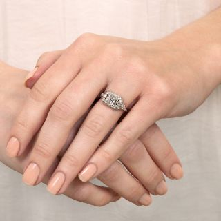 Late Art Deco .69 Carat Square Emerald Cut Diamond Ring - GIA F SI1