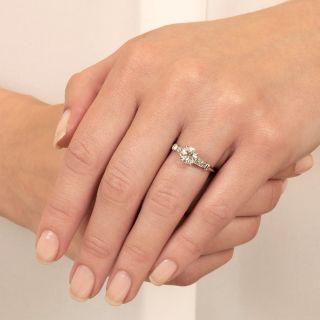 Late-Art Deco .97 Carat Diamond Engagement Ring - GIA H SI1