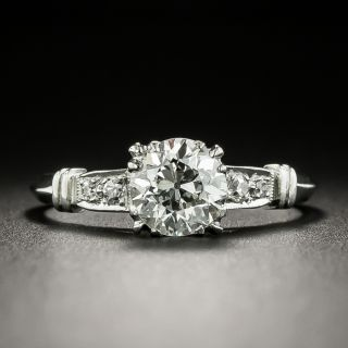 Late-Art Deco .97 Carat Diamond Engagement Ring - GIA H SI1 - 2