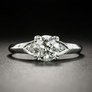 Late Art Deco .98 Carat Diamond Platinum Engagement Ring - GIA L VS2 - 3