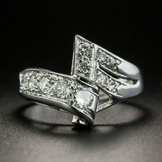 Late Art Deco Diamond Bypass Ring - 2