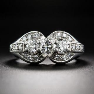 Late-Art Deco Three-Stone Diamond Ring - 1