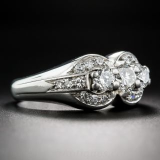 Late-Art Deco Three-Stone Diamond Ring