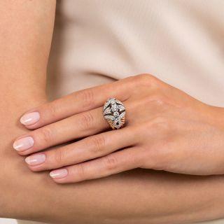 Late Art Deco Two-Tone Diamond Dome Ring