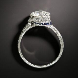 Late Edwardian 1.00 Carat Diamond and Sapphire Ring -  GIA  J VS1