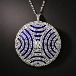 Late-Edwardian/Early-Art Deco Diamond and Blue Enamel Circle Brooch