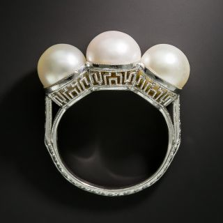 Late-Edwardian/Early Art Deco Three-Pearl Platinum Diamond Ring - 6