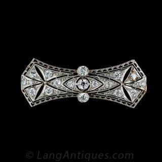 1920s Platinum Diamond Bow Motif Bar Pin - 1