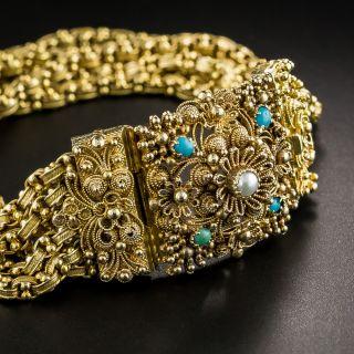 Late Georgian Cannetille Turquoise Bracelet - 1
