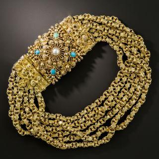 Late Georgian Cannetille Turquoise Bracelet