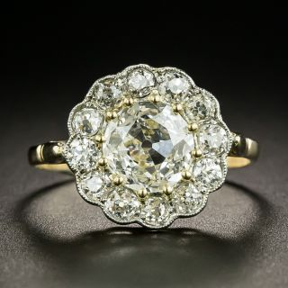 Late Victorian 1.26 Carat Diamond Center Halo Ring - GIA  - 2