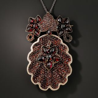 Late Victorian Bohemian Garnet Convertible Pendant and Brooch with Locket  - 4