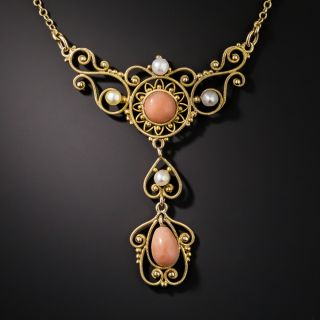 Late Victorian Coral and Pearl Necklace - 2