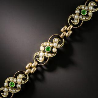 Late Victorian Demantoid Garnet and Pearl Bracelet - 2