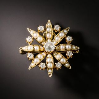 Late Victorian Diamond and Pearl Brooch/Pendant by J. Solinger