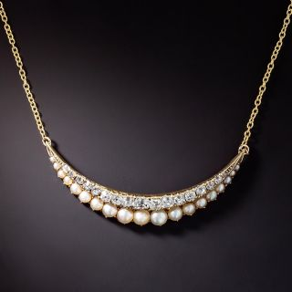 Late Victorian Diamond and Pearl Crescent Necklace - 1