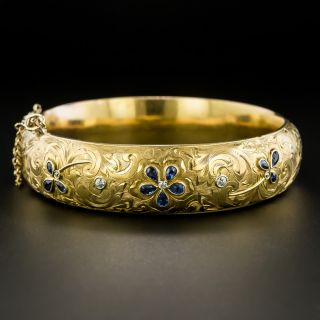 Late Victorian Diamond and Sapphire Bangle Bracelet - 2