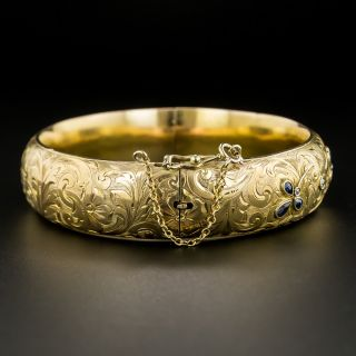 Late Victorian Diamond and Sapphire Bangle Bracelet