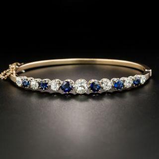 Antique Diamond Sapphire Bangle Bracelet - 3