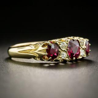 Late-Victorian English Three-Stone Ruby And Diamond  Ring