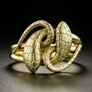 Late Victorian Engraved Entwined Snake Ring - 3