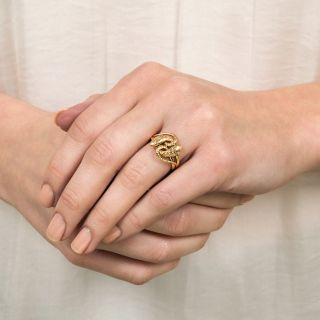 Late Victorian Engraved Entwined Snake Ring