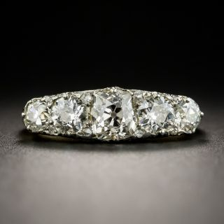 Late Victorian Five Stone Diamond Carved Ring with Rose Diamond Accents - 1
