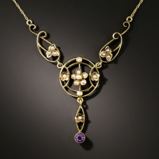 Late Victorian Seed Pearl and Amethyst Necklace - 2