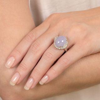 Lavender Burmese Jade and Diamond Ring