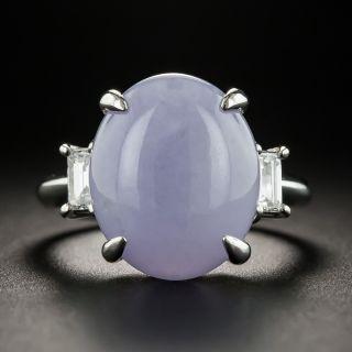 Lavender Jade Platinum Diamond Ring - 1