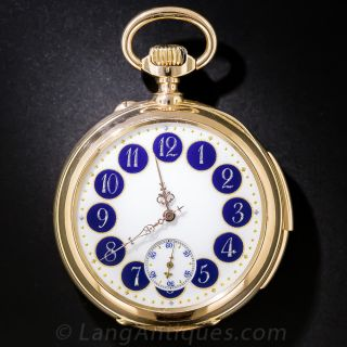 Le Coultre 18K Minute Repeating Open Face Pocket Watch