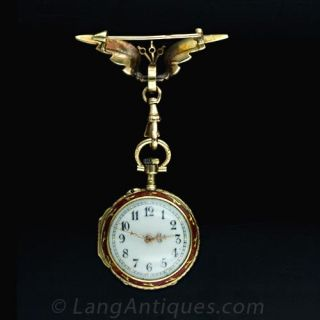 LeCoultre & Cie French Enamel and Diamond Lapel Watch