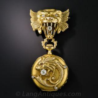 Lion/Gargoyle Diamond Lapel Watch by Peacock/Waltham