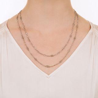 Long 8.25 Carat Diamond Platinum Chain Necklace