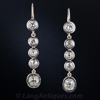 Long Antique Diamond Drop Earrings - 1