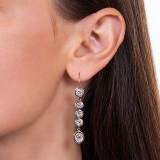 Long Antique Diamond Drop Earrings