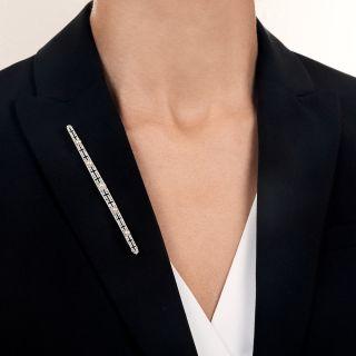 Long Edwardian Natural Pearl and Diamond Bar Pin