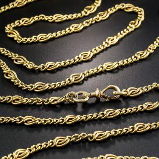 Long French 18K Fancy Link Chain